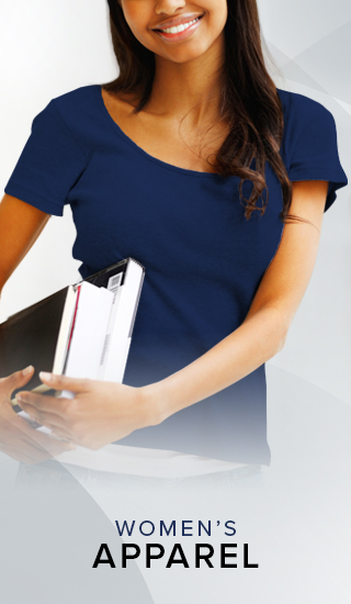 Picture of a smiling woman. Click to shop Women's Apparel.